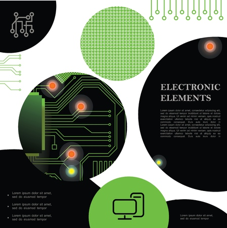 Technological electronic colorful concept with digital high tech circuit board texture vector illustration