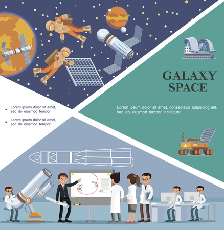 Flat galaxy template with scientists in observatory moon rover planetarium astronauts fix satellite in outer space vector illustration Illustration