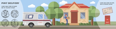 Flat post service template with postman deliviring package to customer van postbox and mail stamps vector illustration