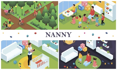 Isometric nanny work composition with parents walking with kids nanny playing with children at home and babysitter puts baby to sleep vector illustration