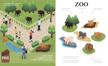 Zoo colorful concept with visitors watching and photographing buffalo kangaroos and different animals in isometric style