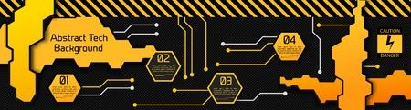 Concepto de infografía abstracta de alta tecnología con placas geométricas cuatro opciones y texto en la ilustración de vector de fondo de fibra de carbono