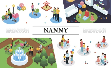 Isometric nanny work concept with nanny playing different games and walking with children