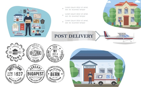 Flat post service concept with postman mail stamps postbox van float plane post office envelope courier delivering package to customer