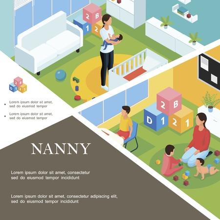 Plantilla de trabajo de niñera isométrica con niñera que pone al bebé a dormir y a la niñera jugando con los niños en la habitación del niño