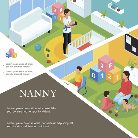 Isometric nanny work template with babysitter puts baby to sleep and nanny playing with kids in child room Illustration
