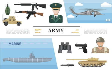 Flat military elements concept with submarine helicopter armored car tank officer soldier pistol knife binoculars grenade automatic machine