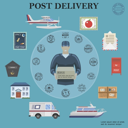 Flat post service round concept with postman float plane van yacht postbox parcel envelope letter stamps post office