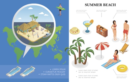 Isometric summer holiday concept with hat cocktail bag lifebuoy recliner palm trees people rest near bungalow hotel on beach vector illustration