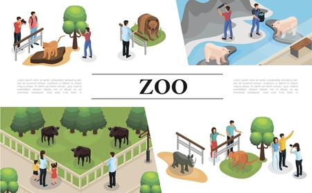 Isometric zoo concept with visitors zookeepers tiger kangaroo rhinoceros buffalo tiger brown and polar bears Illustration