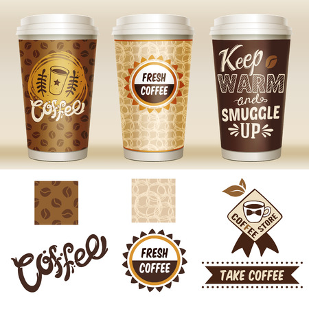 Take away coffee packaging template set with 3d paper cup and fresh coffee coffee store descriptions Illustration