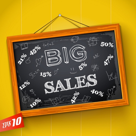 Hand drawn inscription big sales discounts and educational elements on school blackboard with wooden frame vector illustration