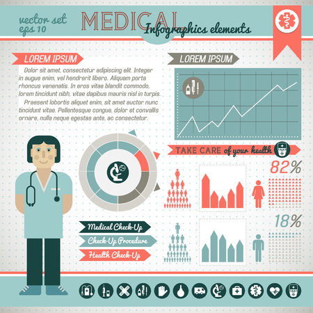 Healthcare infographic set with medical treatment symbols in flat style vector illustration Ilustração