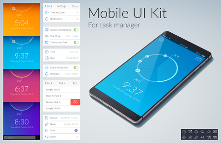 Mobile ui kit design concept for task manage with colorful