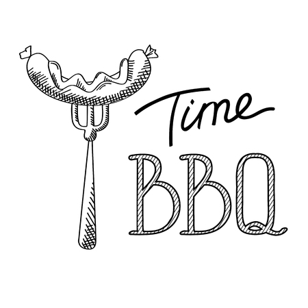 Light typographical template with calligraphic inscription BBQ Time and sausage on fork isolated vector illustration