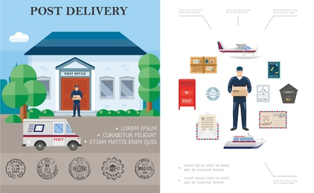 Flat delivery colorful concept with postman float plane yacht post office couriers truck postbox parcel and mail stamps