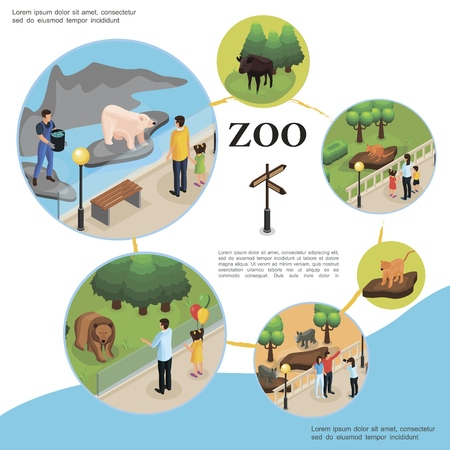 Isometric zoo colorful template with zookeeper feeds polar bear and visitors watching different animals