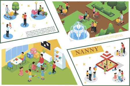 Composición de cuidado de niños isométrica con niñera y padres caminando jugando con niños en casa y en la ilustración de vector de patio de recreo