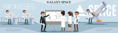 Colorful space exploration template with scientists working in observatory in flat style vector illustration