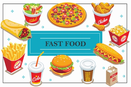 Isometric fast food concept with coffee and cola cups doner pizza salad popcorn bucket hot dog burger french fries chicken legs vector illustration