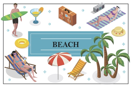 Isometric summer holiday concept with man holding surfboard women sunbathing on beach cocktail recliner baggage umbrella palm trees hat lifebuoy