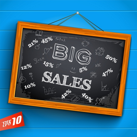 Hand drawn inscription big sales discounts and educational elements on hanging chalkboard on blue