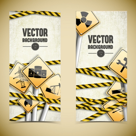 Vertical isolated textured industrial banners set with warnings signs and tapes on light background with dark corners flat vector illustration
