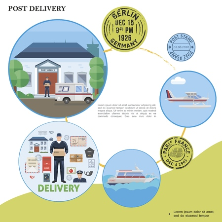 Flat post service template with postman courier post office float plane yacht van postbox envelope mail stamps Illustration