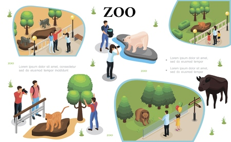 Isometric zoo colorful composition with visitors watching and photographing animals and zookeeper feeds polar bear