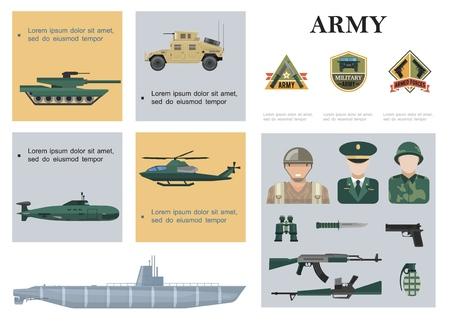 Composición militar plana con tanque blindado coche helicóptero submarino buque de guerra soldados oficial arma binoculares y emblemas del ejército