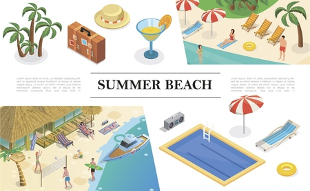 Isometric summer vacation concept with palms bag hat cocktail swimming pool recliner umbrella lifebuoy tape recorder people rest on tropical beach vector illustration Illustration