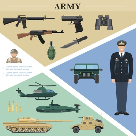 Flat army elements template with officer soldier military vehicles machine guns grenade knife binoculars pistol bullets vector illustration Illustration
