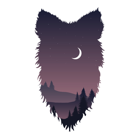 Wild wolf head silhouette with night landscape trees and moon inside isolated
