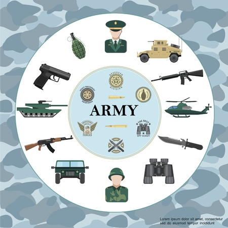 Flat army round concept with officer soldier armored car tank helicopter weapon binoculars grenade military badges on camouflage
