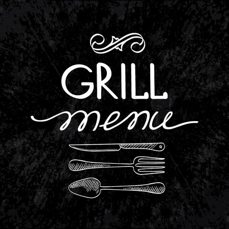 Concepto tipográfico de menú de parrilla con tenedor, cuchillo y cuchara en negro Ilustración de vector