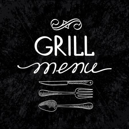 Grill menu typographical concept with fork knife and spoon on black