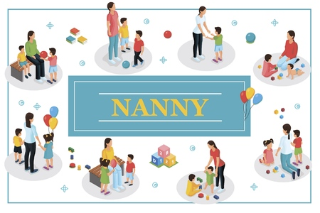 Isometric babysitter and kids concept with nanny and children in different situations vector illustration