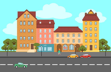 Colorful summer city landscape flat concept with buildings of different constructions walking woman trees cars Standard-Bild - 120612037