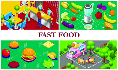 Isometric fast food concept with ice cream truck fruits vegetables fast food restaurant ingredients for burger Illustration