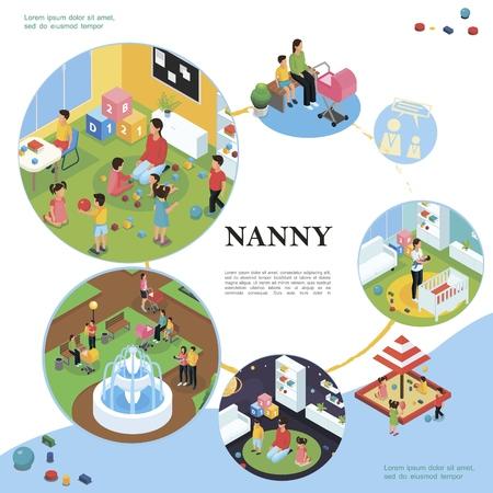 Concepto colorido isométrico de niñera y niños con niñera caminando jugando con niños y niñera pone al bebé a dormir Ilustración de vector