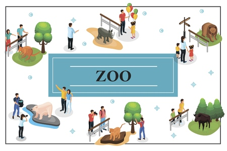 Isometric zoo concept with people watching and photographing animals and zookeeper feeds polar bear Illustration