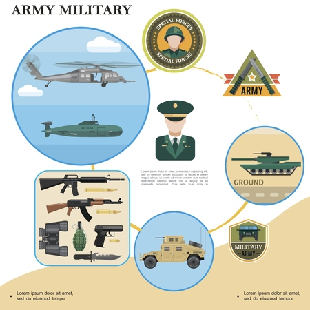 Flat military template with tank helicopter submarine armored car weapon binoculars bullets soldier officer and army badges Illusztráció
