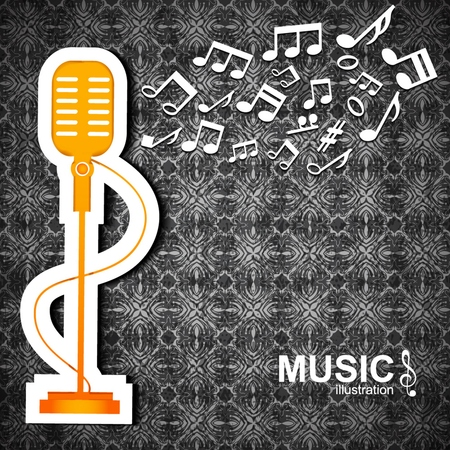 Dark textured music   with big orange microphone and white notes flat Illustration