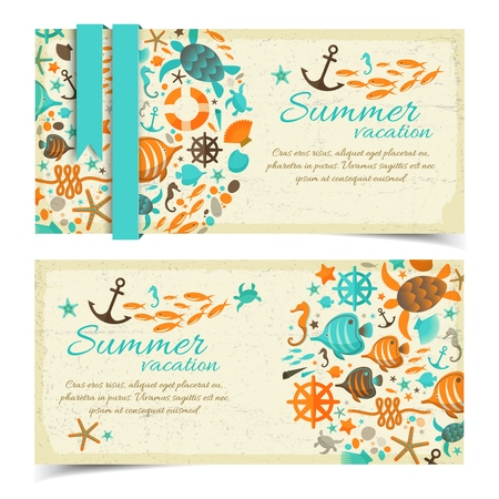 Summer vacation vintage banners on grange paper with blue ribbon and marine icons ornament
