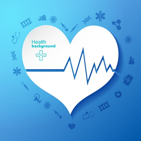 Blue with cardiogram in heart symbol in center and medical icons around