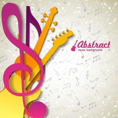 Musique abstraite multicolore avec des attributs musicaux violets jaunes et roses en premier plan