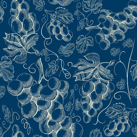 Abstract botanical hand drawn seamless pattern with grapes bunches in vintage style on blue Ilustração