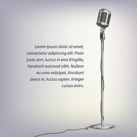Silver retro microphone with cable on floor stand and text on illuminated grey