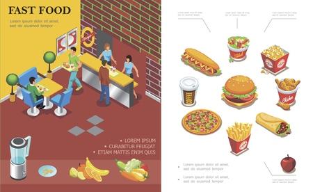Isometric fast food restaurant concept Stock Vector - 120612914