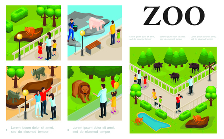 Isometric zoo colorful composition with visitors Illustration